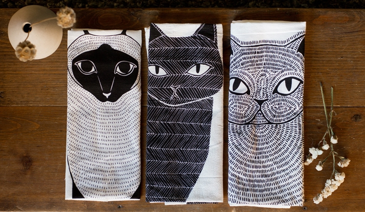 3 Cats Tea Towels | Gingiber