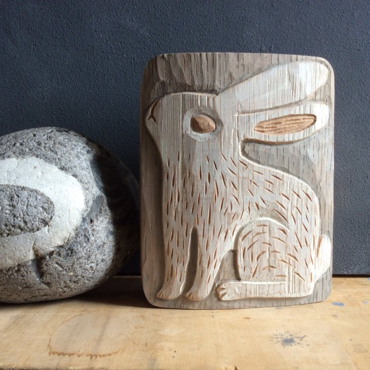 Wood Relief Rabbit by Leschiwelt