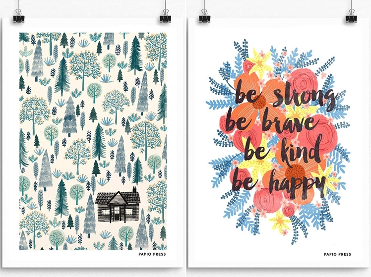 The Log Cabin Print & Be Brave, Be Strong Print | Papio Press