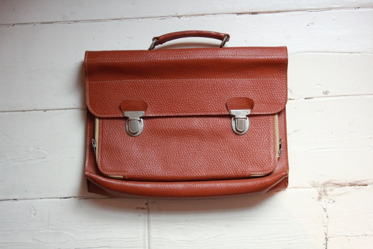 Tan Leather 1960's School Satchel