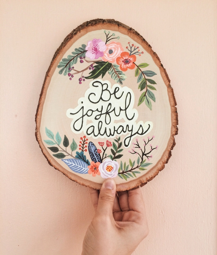 Custom Floral Hand-Painted Wood by Of Joy & Whimsy