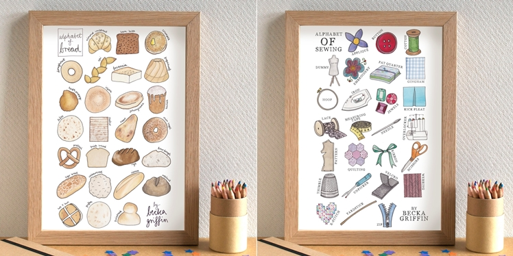 Bread and Sewing Alphabet Prints by Becka Griffin