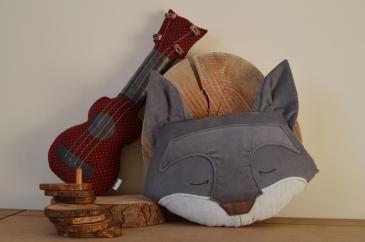 grey fox and ukulele cushions