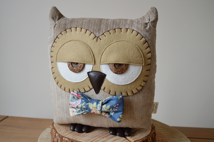 Owl Cushion with Floral Bow by Midgins'