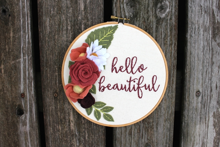 Hello Beautiful Flower Embroidered Hoop Art | Erin McMom