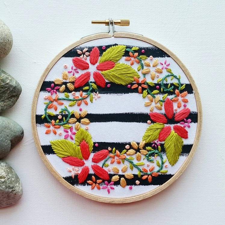 Hand Embroidered Mini Floral Wreath | Namaste Embroidery