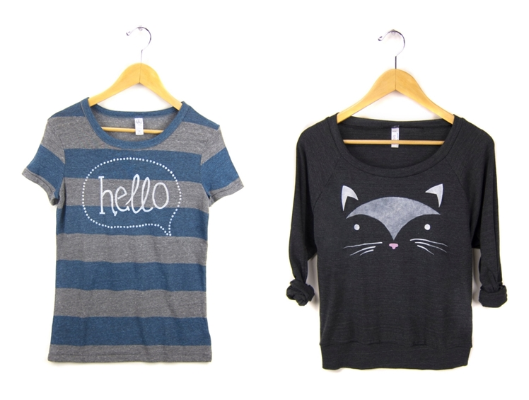 Hello Hand Stenciled Tee & Geo Cat Hand Stenciled Sweatshirt | Two String Jane