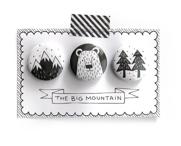 "Pinback Buttons ""The Big Mountain"" 