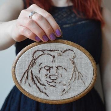 Bear Embroidery Hoop - Midgins'