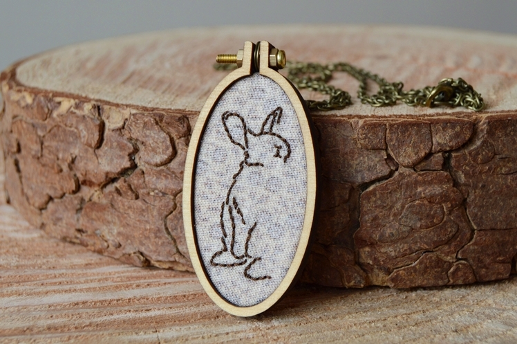 Bunny Embroidered Necklace - Taking Stock April - Midgins' Blog