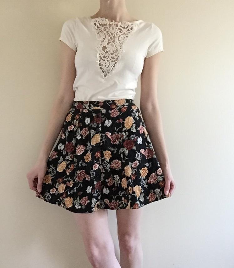 90s Cotton Floral Skater Skirt | Tessa Perlow Inc