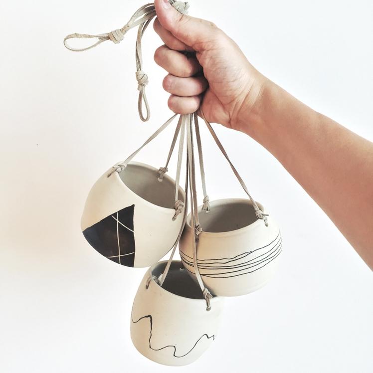 Set of 3 Ceramic Hanging Planters | Peppered Fox Studios