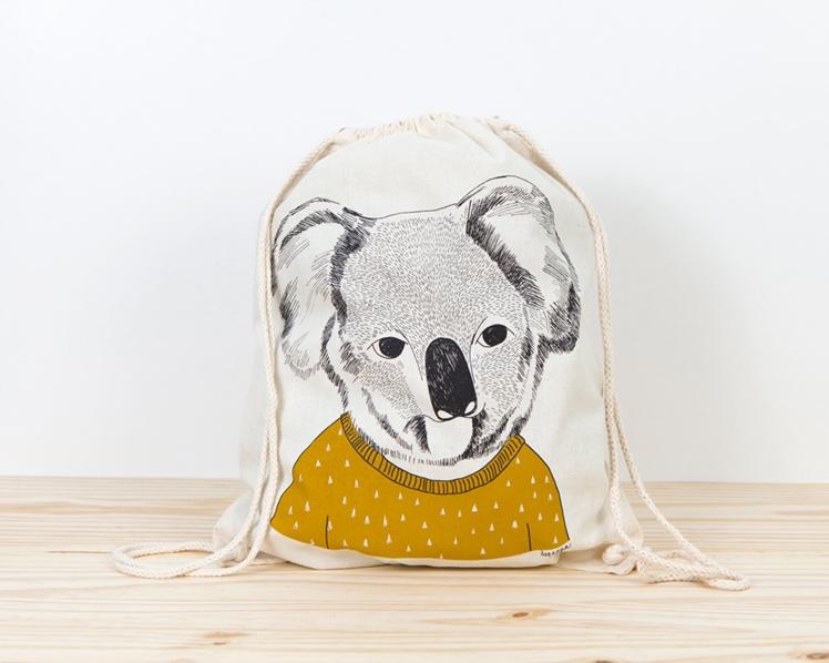 Koala Screen Printed Canvas Backpack | Depeapa