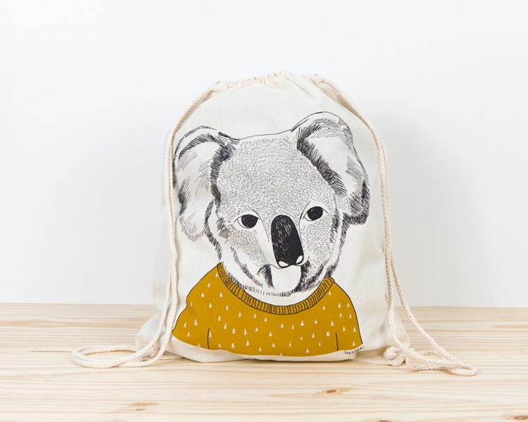 Koala Screen Printed Canvas Backpack | Depeapa