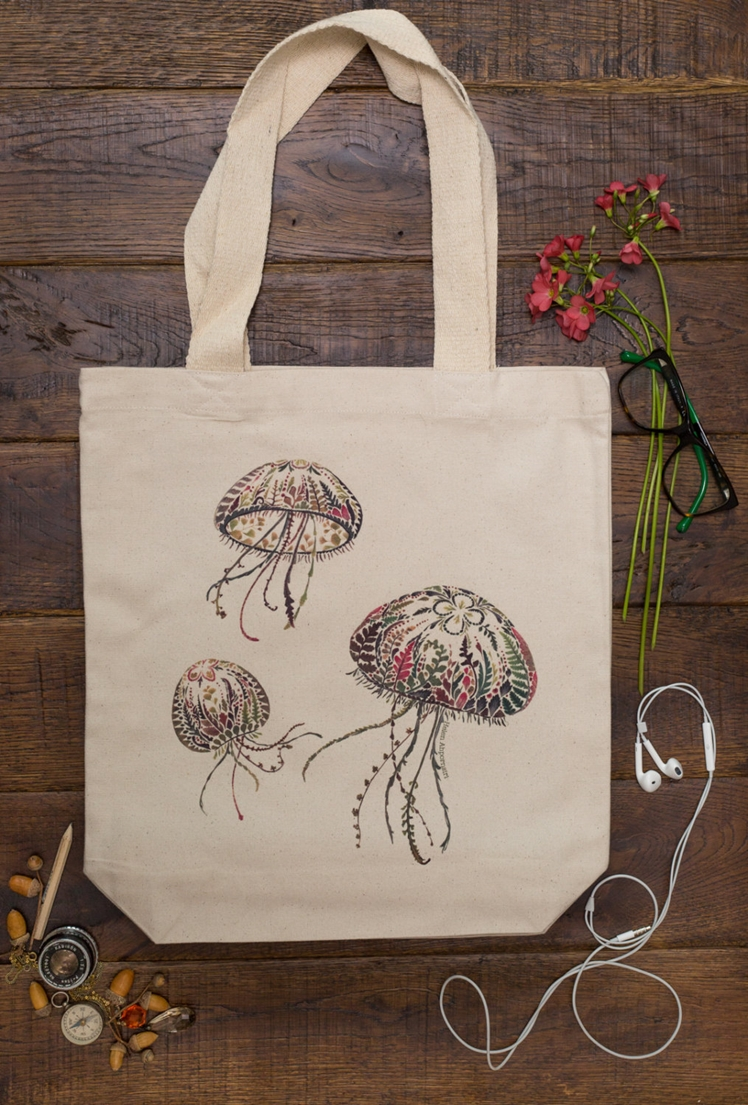 Moon Jellyfish Canvas Tote Bag | Helen Ahpornsiri