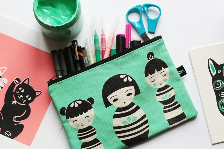 Kokeshi Design Zipper Pouch | Inka Prints