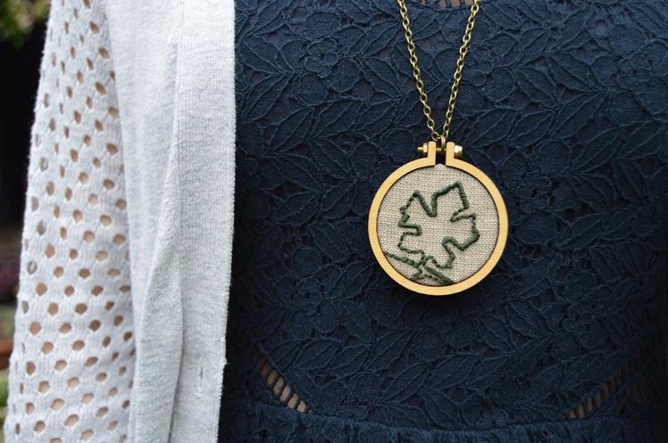 Leaf Embroidered Necklace - Midgins'