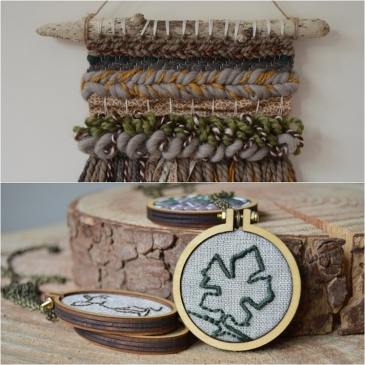 Leaf Embroidered Necklace & Woodland Wall Hanging - Midgins'
