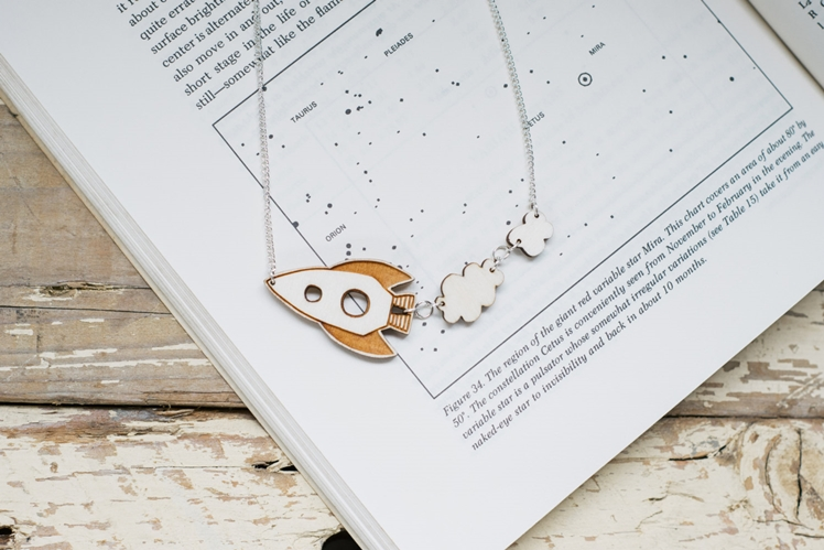 Rocket Ship Wooden Necklace | Kates Little Store