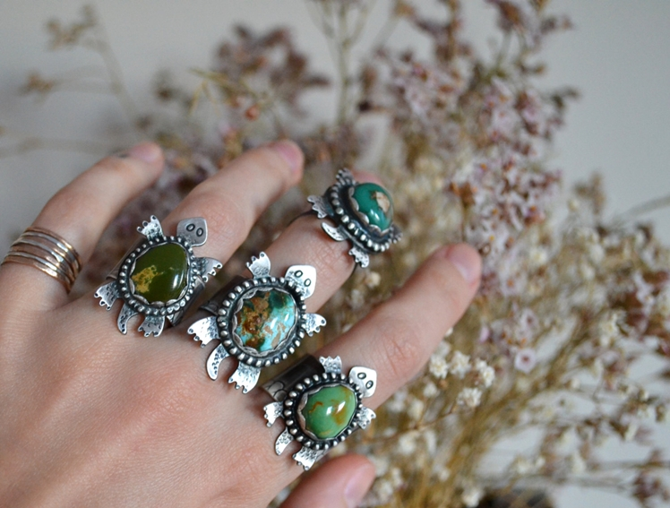 Turquoise Turtle Totem Silver Ring | The Cave Lady Jewelry