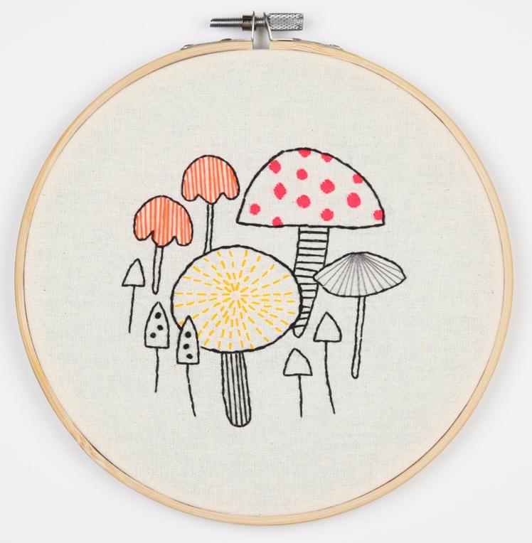 Neon Toadstool Embroidery Hoop | Maggie Magoo Designs