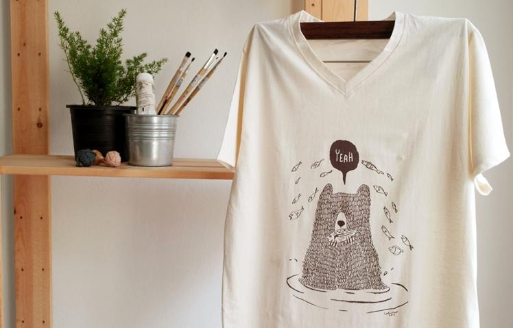 Bear Eat Fish T-Shirt   Cot by Caliiico