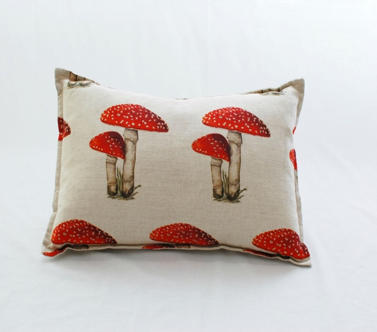 Toadstool Linen Cushion | Rose and Bows UK