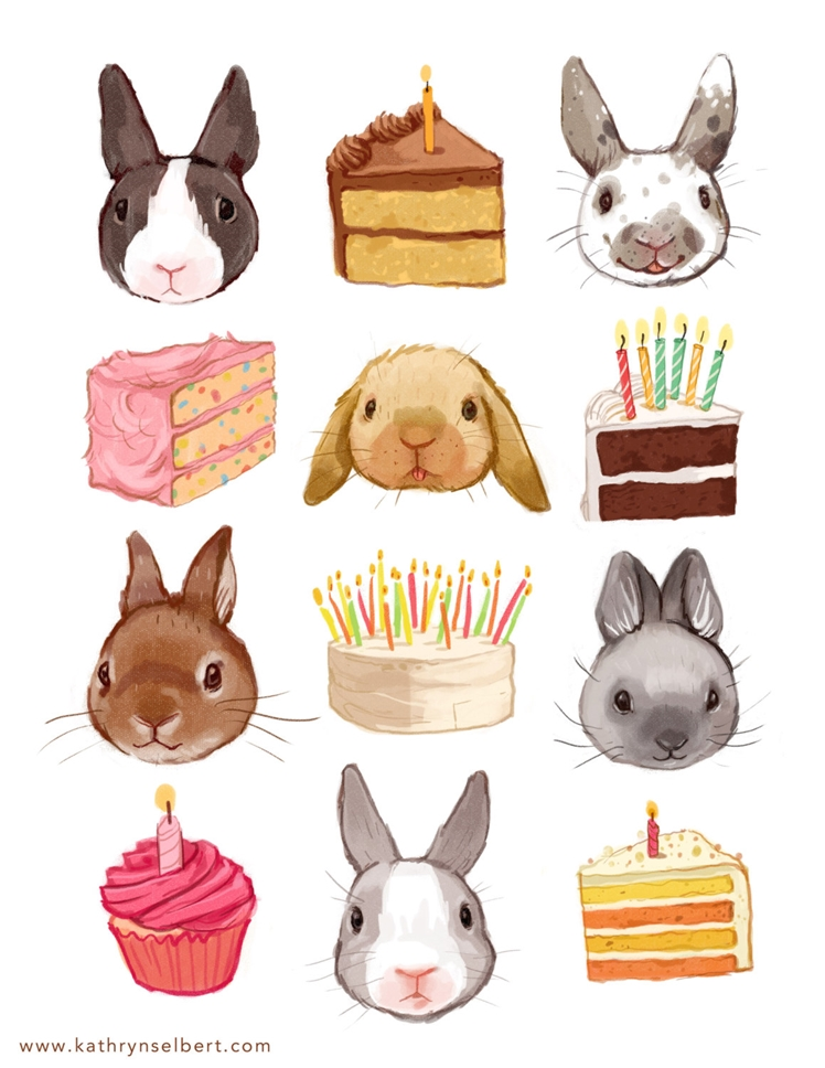 Bunnies and Birthday Cake Illustration | Kathryn Selbert