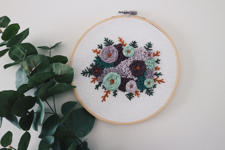 Triple Purple with Mint Rosie Embroidery | Handcrafted Folk