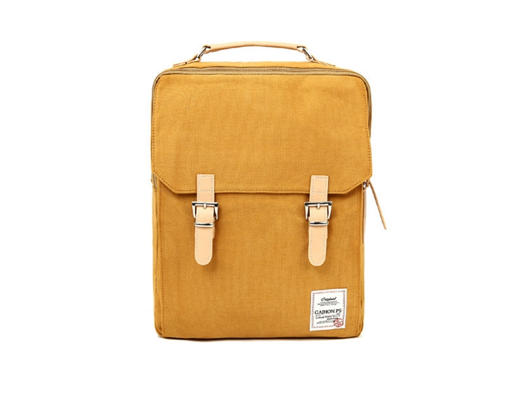 Cotton Square Backpack (Mustard) | Bag Dori