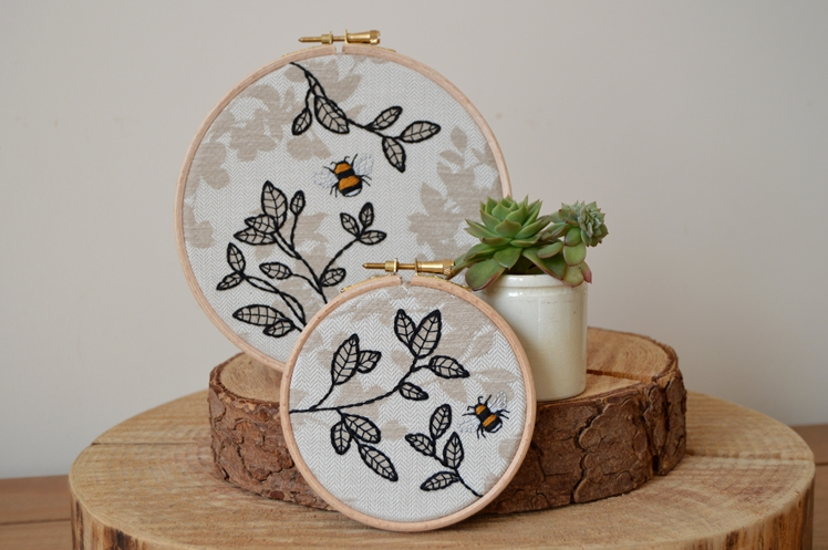 Bumble Bee & Leaves Embroidery Hoop | Midgins'