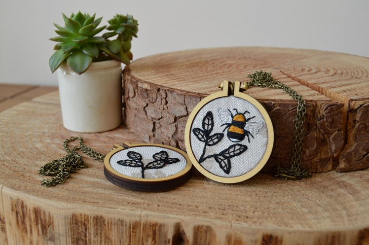 Bumble Bee Embroidery Hoop Necklace | Midgins'