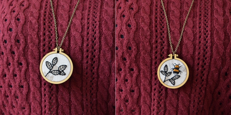 Botanical Embroidery Hoop Necklace | Midgins'