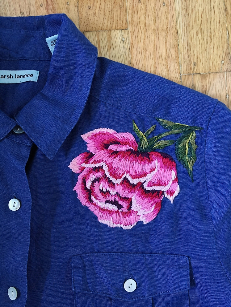 Blue Linen Button up with Hand Embroidered Pink Rose | Sam Eldridge Art