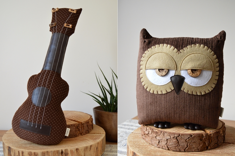 Ukulele and Owl Pillows | Midgins'