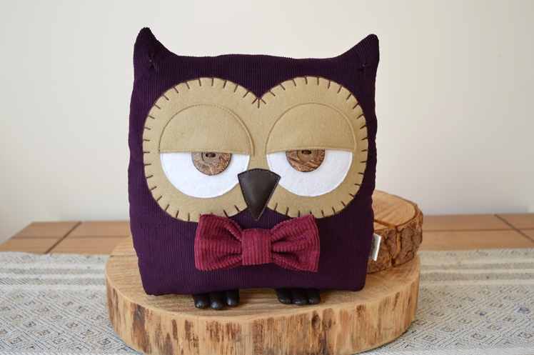 Plum Purple Owl Cushion | Midgins'