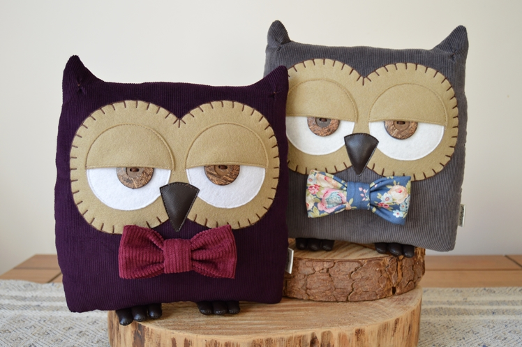 Plum Purple Owl Cushion   Midgins'