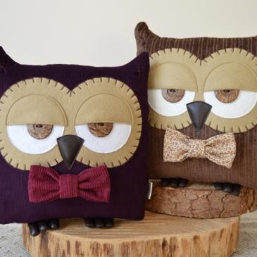 Plum Purple Owl Cushion | Midgins'
