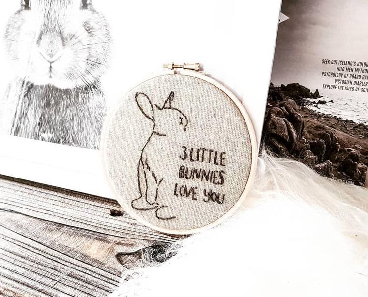 Custom Bunny Embroidery Hoop | Midgins'