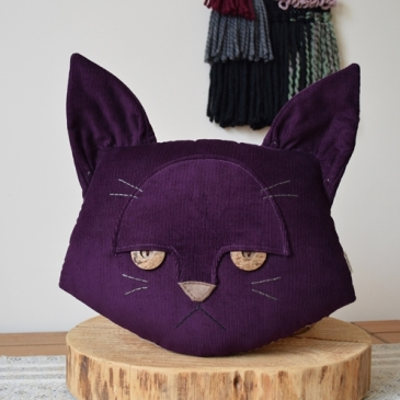 Purple Cat Cushion | Midgins'