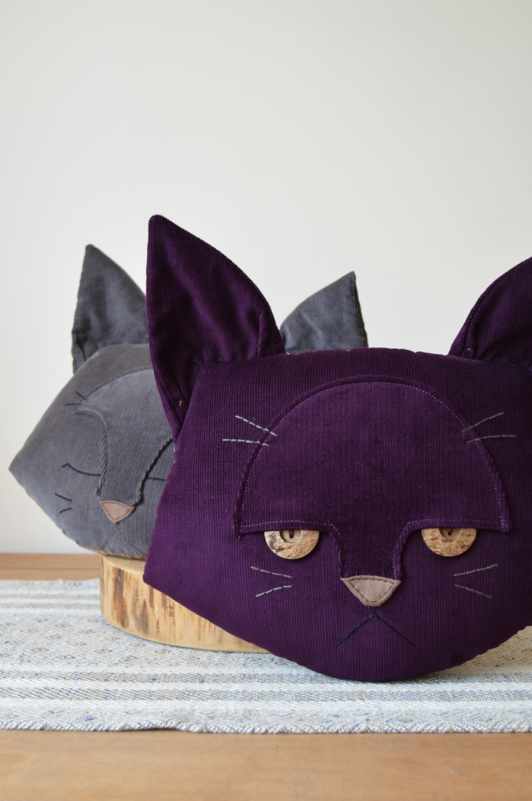 Purple Cat Cushion | Midgins'